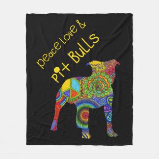 """""""Peace Love & Pit Bulls"""" Pop Art Fleece Blanket"""