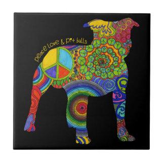 """""""Peace Love & Pit Bulls"""" Pop Art Photo Tile"""