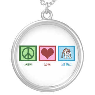Peace Love Pit Bulls Silver Plated Necklace