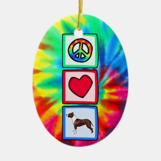 Peace, Love, Pitbulls Christmas Ornament