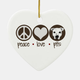 Peace Love Pits Ceramic Heart Decoration