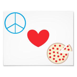 """Peace Love Pizza 8.5""""x11"""" Kitchen Wall Art"""