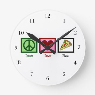 Peace Love Pizza Round Clock