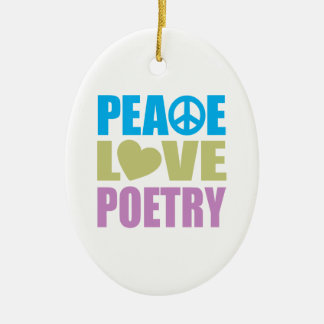 Peace Love Poetry Christmas Ornament