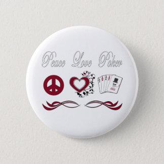 Peace Love Poker 6 Cm Round Badge