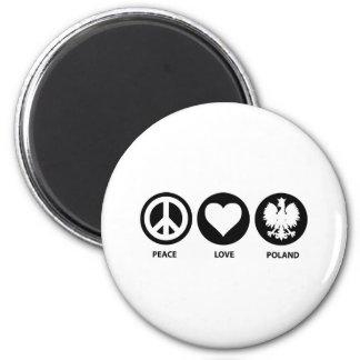 Peace Love Poland 6 Cm Round Magnet