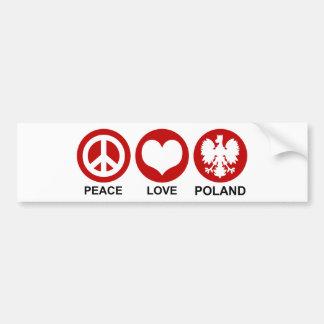Peace Love Poland Bumper Sticker