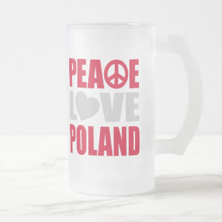Peace Love Poland 16 Oz Frosted Glass Beer Mug