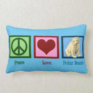 Peace Love Polar Bears Custom Blue Lumbar Cushion