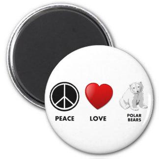 peace love polar bears Save the bears 6 Cm Round Magnet