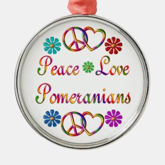PEACE LOVE POMERANIANS CHRISTMAS ORNAMENT