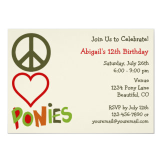 Peace Love Ponies Girl's Birthday Invitation