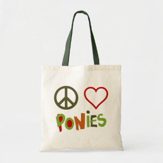 Peace Love Ponies Horse Tote Bag