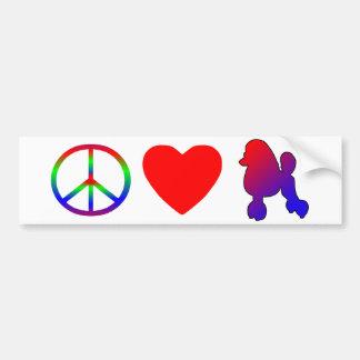 Peace Love Poodles Bumper Sticker