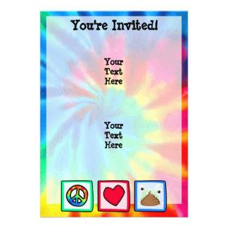 Peace Love Poop Custom Invitation