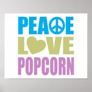 Peace Love Popcorn Print