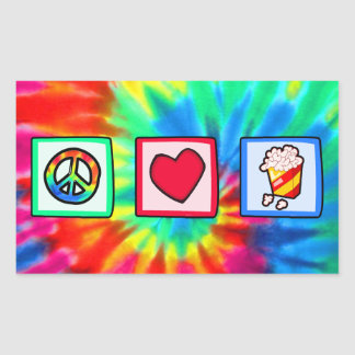 Peace, Love, Popcorn Rectangular Sticker