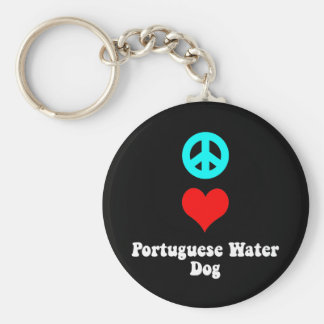 Peace love Portuguese Water Dog Key Ring