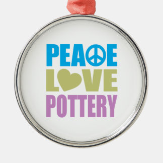 Peace Love Pottery Christmas Ornament