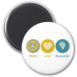 Peace Love Psychiatry 6 Cm Round Magnet