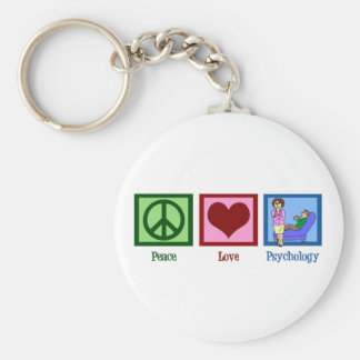 Peace Love Psychology Basic Round Button Key Ring