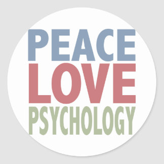 Peace Love Psychology Classic Round Sticker