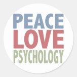 Peace Love Psychology Round Sticker