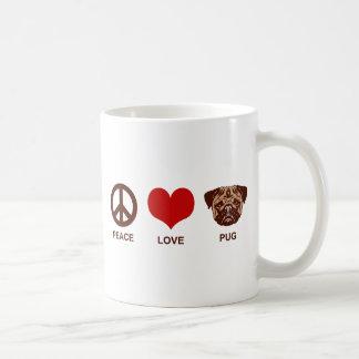 Peace Love Pug Basic White Mug