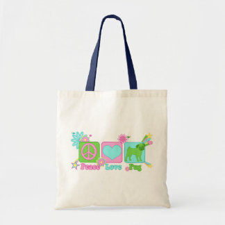 Peace - Love - Pug Budget Tote Bag