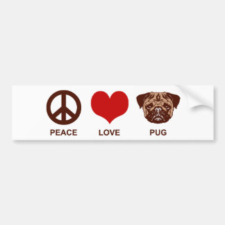 Peace Love Pug Car Bumper Sticker