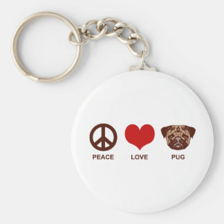 Peace Love Pug Basic Round Button Key Ring