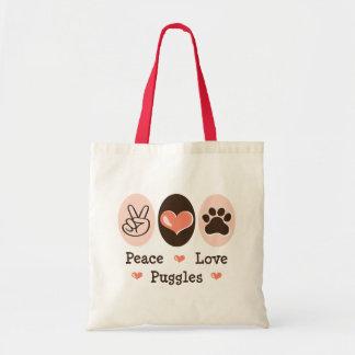 Peace Love Puggles Tote Bag