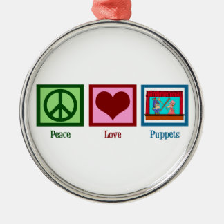 Peace Love Puppets Christmas Ornament