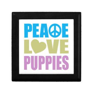 Peace Love Puppies Small Square Gift Box