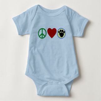 Peace Love Puppy Paws T shirts, Gifts Baby Bodysuit