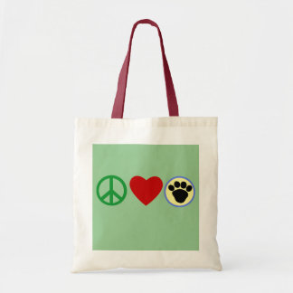 Peace Love Puppy Paws T shirts, Gifts Tote Bag