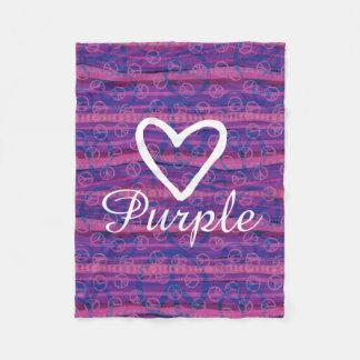 Peace Love Purple Fleece Blanket