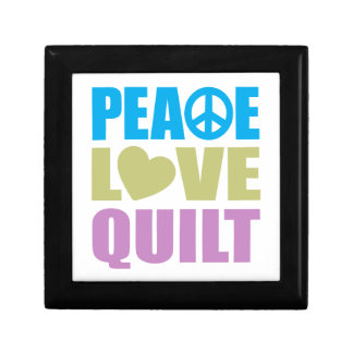 Peace Love Quilt Small Square Gift Box