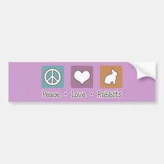 Peace Love Rabbits Bumper Sticker