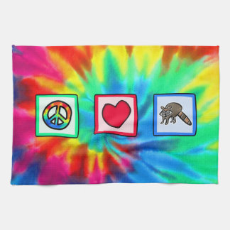 Peace, Love, Raccoons Tea Towel