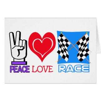 PEACE LOVE RACE GREETING CARD