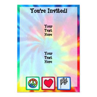 Peace, Love, Racing 13 Cm X 18 Cm Invitation Card