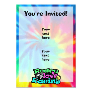 Peace, Love, Racing 13 Cm X 18 Cm Invitation Card