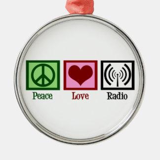 Peace Love Radio Silver-Colored Round Decoration