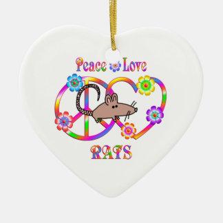 Peace Love Rats Ceramic Heart Decoration
