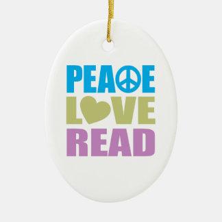 Peace Love Read Christmas Ornament