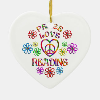 Peace Love Reading Ceramic Heart Decoration