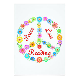 "Peace Love Reading 5"" X 7"" Invitation Card"