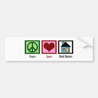 Peace Love Real Estate Bumper Sticker