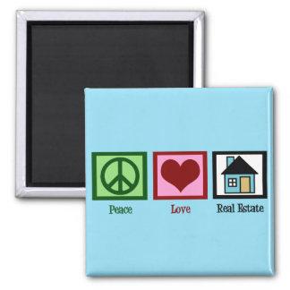 Peace Love Real Estate Square Magnet